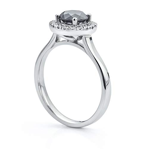 Black Diamond Platinum Halo Engagement Ring