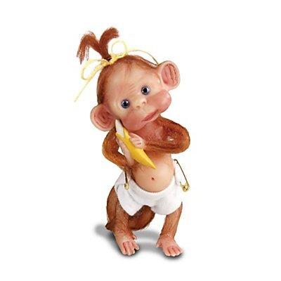 "Ashton Drake 'Monkey Cuddles' - Collectible Miniature Baby Monkey Figurine - Handpainted Resin - 4.57"" 12cm"