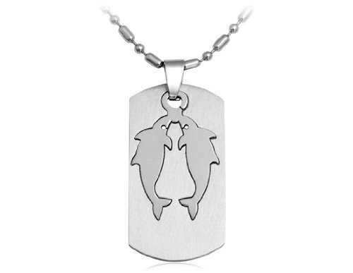BoyZ! Silver Stainless steel Pisces zodiac sign pendant necklace with chain For Men & Women