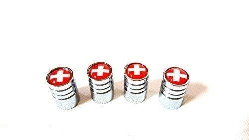 4x Auto Ventilkappe cap Ventilkappen Chrom mit Schweiz Flagge CH Logo Switzerland Ventil für alle KFZ PKW LKW Bus Modelle 4er Set