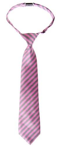 Retreez Jungen Gewebte vorgebundene Krawatte Gestreifte - rosa und grau - 4 - 7 Jahre