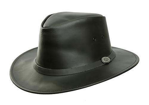 Australian Style Lederhut Praha in schwarz mittlerer Block mit natürlich geschwungener Krempe | Herren Damen Größe L | 2.Wahl