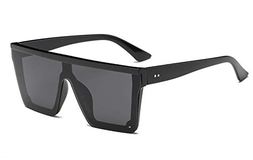 HUWAIYUNDONG Sonnenbrillen,New Oversized Women Big Frame Square Sunglasses Female Men Vintage Mirror Shades Gradient Black Black