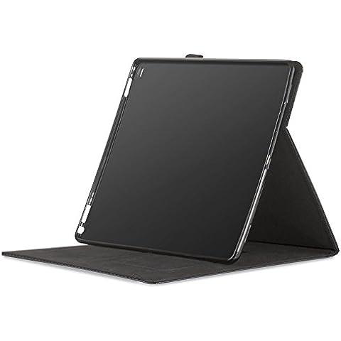 PLEMO Custodia Copertura Pieghevole a libro in pelle Sintetica per Apple iPad Pro 12.9 Pollici 2015 con Laccetto da Polso, Standby/Riattivazione Automatica, Nero Fibra di