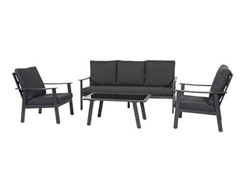 Lifestyle4living Lounge Gartenmöbel Set Aus Polyrattan In Grau. Bank Und  Hocker Inkl. Sitzauflagen, Wetterfest. Ideal Für Garten ...