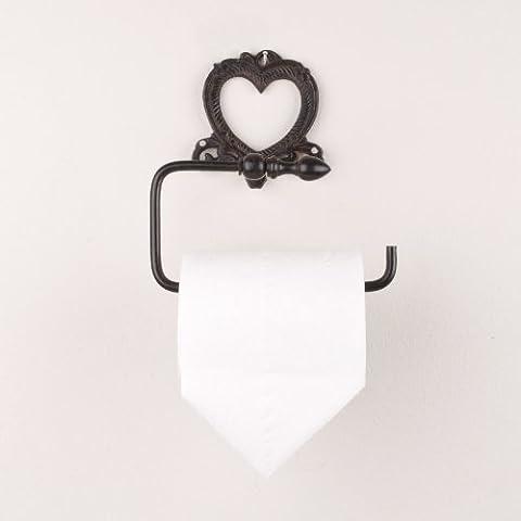 Período diseño de corazón hierro fundido pared portarrollos de papel higiénico almacenar–una adición Ideal para un baño tradicional, baño o lavabo–H14x x 14,5x