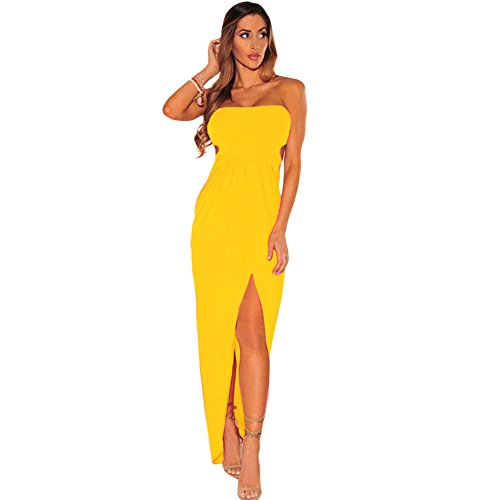 meinice Draped Hollow-out Maxi Dress Yellow Small