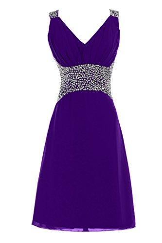 Sunvary Neu V-Ausschnitt Abendkleider Kurz Chiffon Ballkleider Partykleider Violett