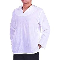 Lofbaz de los Hombres Sudadera con Capucha Camisa Hippie de Playa de Yoga Boho 100% algodón Suave - Color Sólido Blanco - XL