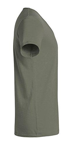 YTWOO Herren Slub T-Shirt mit Weitem V-Ausschnitt Aus 100% Bio-Baumwolle, V-Neck Tiefer Ausschnitt, Bio Kurzarm V Tshirt Baumwolle (Bio) Light Khaki