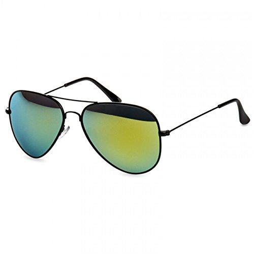 CASPAR SG033 Lunettes de soleil AVIATEUR unisexe PREMIUM noir/vert miroir doré