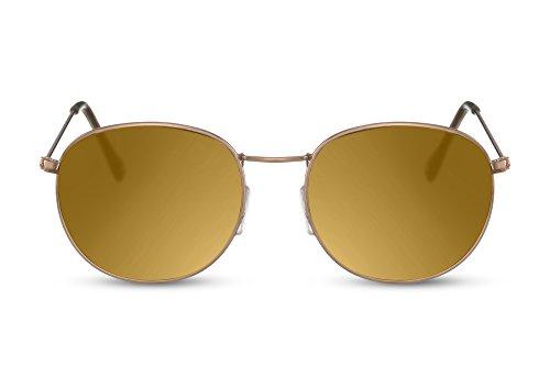Cheapass Sonnenbrille Rund Gold-en Verspiegelt-e Gläesr Hipster Festival UV-400 Metall-Rahmen Männer Frauen