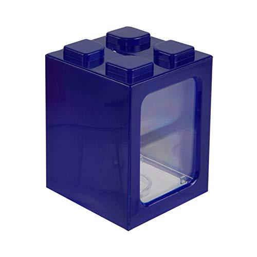 Roomando Spardose Baustein dunkelblau Kunststoff