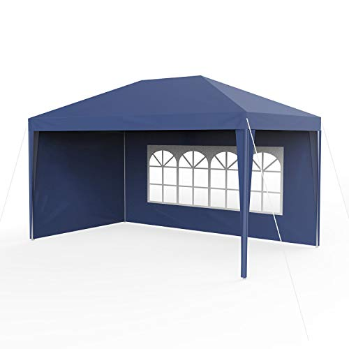 Sekey 3x 4m gazebo da giardino impermeabile/tenda da giardino gazebo da giardino/regolabile/gambe, per giardino/festa/matrimonio/picnic, uv30+, pareti laterali, blu