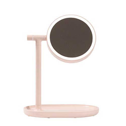 XIAOLVSHANGHANG JINGZI LED-Licht Schminkspiegel, Flip Schminkspiegel Tischlampe Led Lampe Desktop Desktop Spiegel Hause Schlafsaal Laden Ins (Farbe : Pink, größe : 240 * 158 * 320mm)