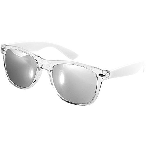 Caspar SG017 Damen RETRO Design Sonnenbrille, Farbe:weiß/silber verspiegelt