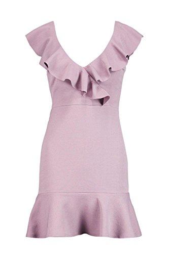 Mauve Femme Sophia Frill Wrap & Hem Bodycon Dress Mauve