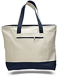 "18"" Stylish Canvas Zippered Tote Bag W/Zipper Front Pocket Pool Beach Shopping Travel Tote Bag Eco-Friendly (Set... - B07FKNCM6H"