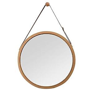 ZRI Bamboo Wandspiegel Rund Flur Spiegel Badspiegel mit Verstellbarer Lederband 45cm
