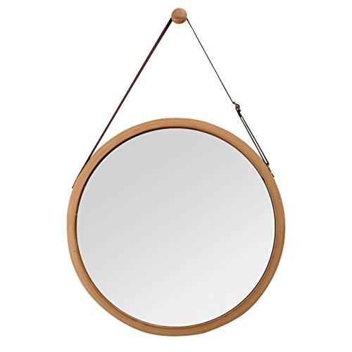 ZRI Bamboo Espejo de Pared Redondo Piso Espejo Baño Espejo con cinturón de Piel Ajustable 38cm...