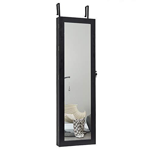 WOLTU Schmuckschrank Schmuckkasten Spiegel mit LED Beleuchtung Spiegelschrank Wand- / Türmontage Hängend Wandschrank aus MDF Holz, ca.120 x 36,5 x 9,5 cm, mb0004sz, Schwarz