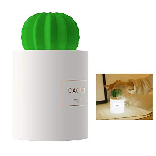 Hi-azul Humidificador Portátil, Humidificador de Cactus 280ml con Luz de Noche Carga USB Silencioso Humidificador de Escritorio para Aire Seco Sin Agua Apagado Automático