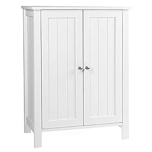 VASAGLE Badschrank Badezimmerschrank Regal Aufbewahrungmit Doppeltür 2 verstellbare Einlegeböden weiß 60 x 80 x 30 cm (B x H x T) BCB60W