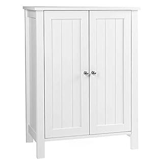 VASAGLE Badschrank Badezimmerschrank Schuhschrank Regal Aufbewahrungmit Doppeltür 2 Verstellbare Einlegeböden weiß 60 x 80 x 30 cm (B x H x T) BCB60W, Holz, Doppeltüriger