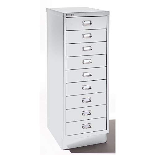 Bisley Schubladenschrank - 9 Schubladen für Format DIN A3 - lichtgrau | 114SPM-AT4 - Schubladenschrank Wandschrank Wandschränke Büroschrank