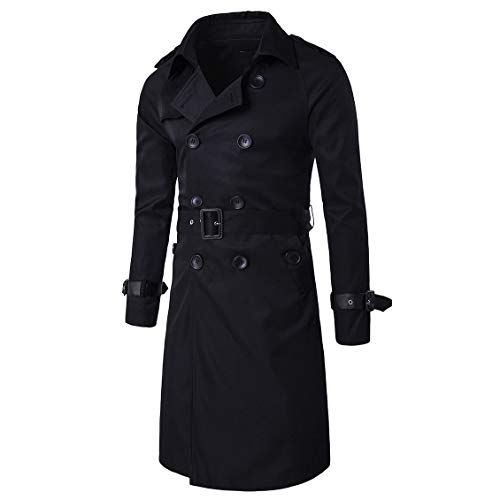 CuteRose Men Big and Tall Fall Winter Classic Double-Breasted Overcoat Trench Black S Black Double-breasted Peacoat