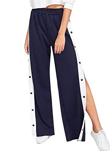 GJ Fashion Pantaloni Larghi da Donna a Vita Alta con Bottoni Laterali Aperti
