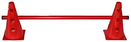 Agility Hundesport - Steckhürde für Koordinationstraining - 2X MZK: 23 cm, rot / 1x Stange: 80 cm, rot