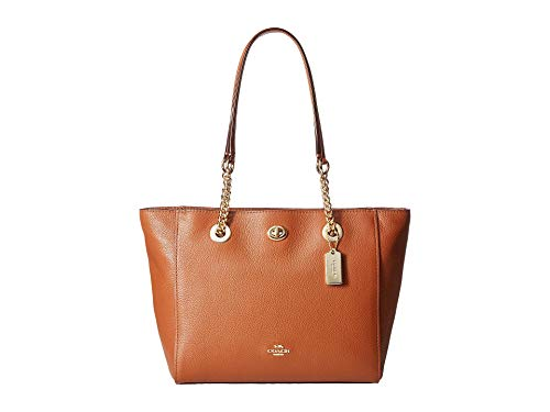 COACH Women's Pebbled Turnlock 27 Chain Tote (Saddle)