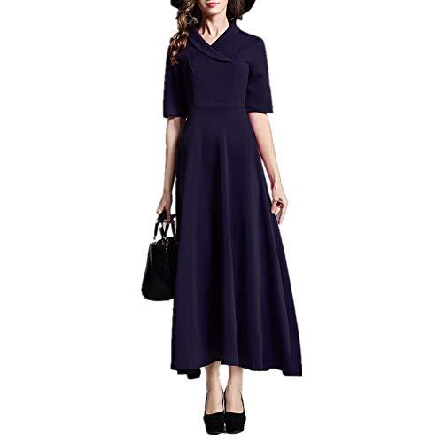 Temperament Slim Solid Color Suit Kragen Lange Rock Sleeve Large Swing Strickkleid (Color : Black, Size : XL) -