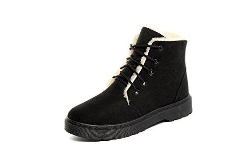 LEIT YFF Die Weihnachtsgeschenke Frauen Snow Boots Kurze Stiefel Schnürsenkel Flach Baumwolle Casual Winter Samt, Schwarz, 40 (Kurze Boot Flache Casual)