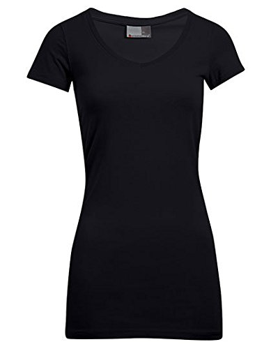 V-Neck T-Shirt Slim Fit Lang Damen, XS, Schwarz (V-neck T-shirt 5 Womens)
