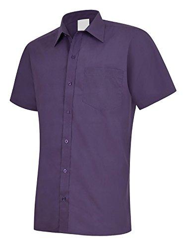 Popeline Uniform (Herren Popeline Half Sleeve Shirt Casual Formale Business Arbeit Uniform Sicherheit UC710[schwarz] [2x l] Gr. xxxl, Violett - Violett)