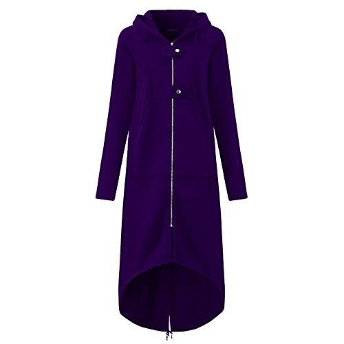 Cloom cardigan donna invernale elegante maglione donna invernale eleganti tumblr maglieria giacca donna donne moda giacca con cappuccio lungo solido cappotto con tasca(viola,xxxx-large)