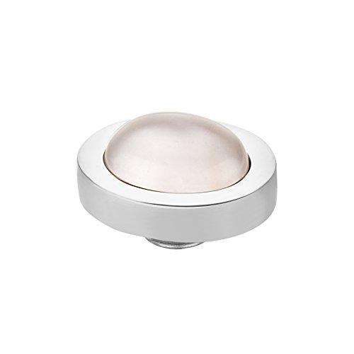 MelanO Vivid Aufsatz/Fassung 10X8 mm Edelstahl mit Stein in Farbe seashell M01SR 9091