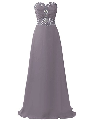 Dresstells Damen Lang Chiffon Abendkleider Ballkleid Brautjunfernkleider Trägerlos Kleider Grau