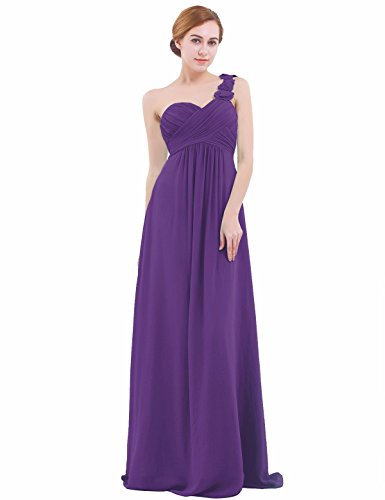 iEFiEL Womens One-shoulder Chiffon A-line Bridesmaid Maxi Long Evening Party Prom Gown Dress Purple UK Size 10 /#6