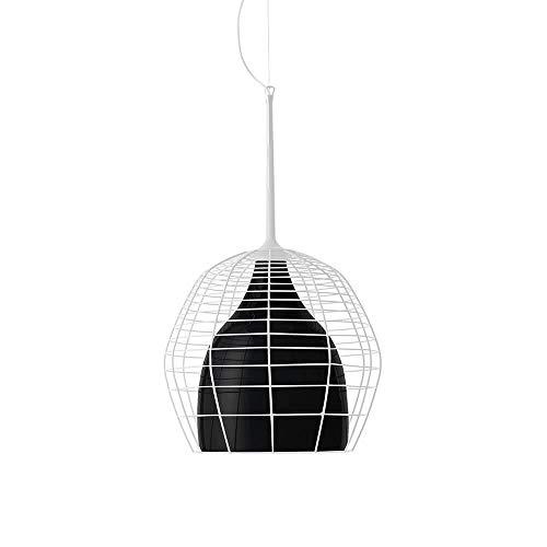 Diesel With Foscarini Cage Petite lampe suspendue avec diffuseur noir et cage blanche
