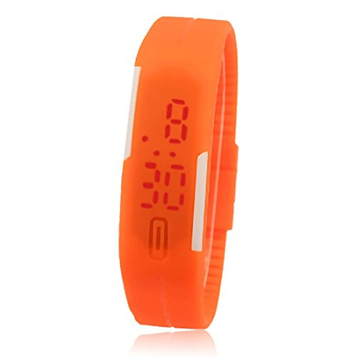 Amlaiworld LED Watch ,Unisex ultrasottile digitale silicone LED orologio sportivo (arancione)