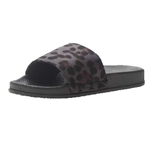 iYmitz Damen Flache Hausschuhe Sommer Flip Flops Leopard Drucken Outdoor Beiläufige Sandalen für Frauen(Schwarz,EU 36.5)