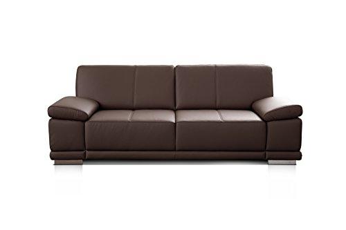 Cavadore 3-Sitzer Ledersofa Corianne / Couch in hochwertigem Echtleder im modernen Design / Mit Armteilverstellung / Größe: 217 x 80 x 99 (BxHxT) / Bezug: Echtleder dunkelbraun (mocca)