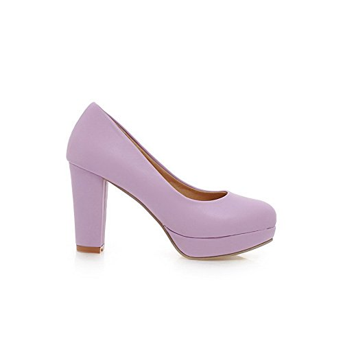 BalaMasa e punta arrotondata, da donna, a tacco alto, materiale morbido pompe-Shoes Purple
