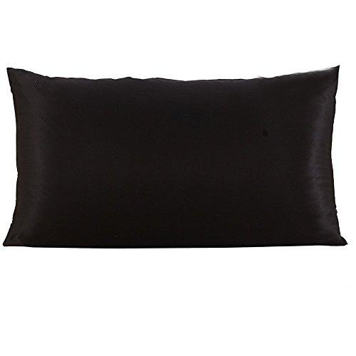 FeiliandaJJ Kissenbezug Seide Volltonfarbe Einfachheit, kissenhülle Kopfkissenbezug Pillowcase Super weich Sofakissen für Wohnzimmer Sofa Bed Home Dekoration,50x76cm (Schwarz)