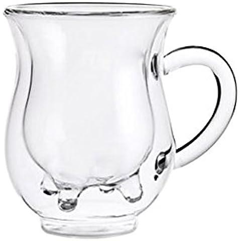 Taza de Café Doble Capa Resistente Al Calor Cristal Borosilicato Transparente