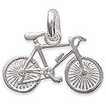 MaryJane - Colgante de plata unisex (18 x 11 mm, plata 925/1000), diseño de bicicleta