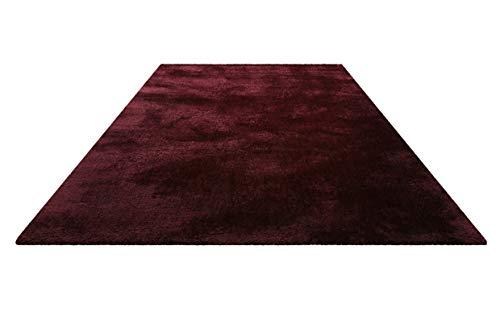 Homie Living I Moderner kuscheliger, weicher, Flauschiger Teppich - Läufer für Wohnzimmer, Flur, Schlafzimmer, Kinderzimmer I Pisa I (70 x 140 cm, Dunkel Rot) -